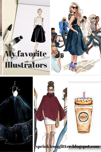Sprinkle on Glitter Blog// My Favorite Fashion Illistrators/ collage