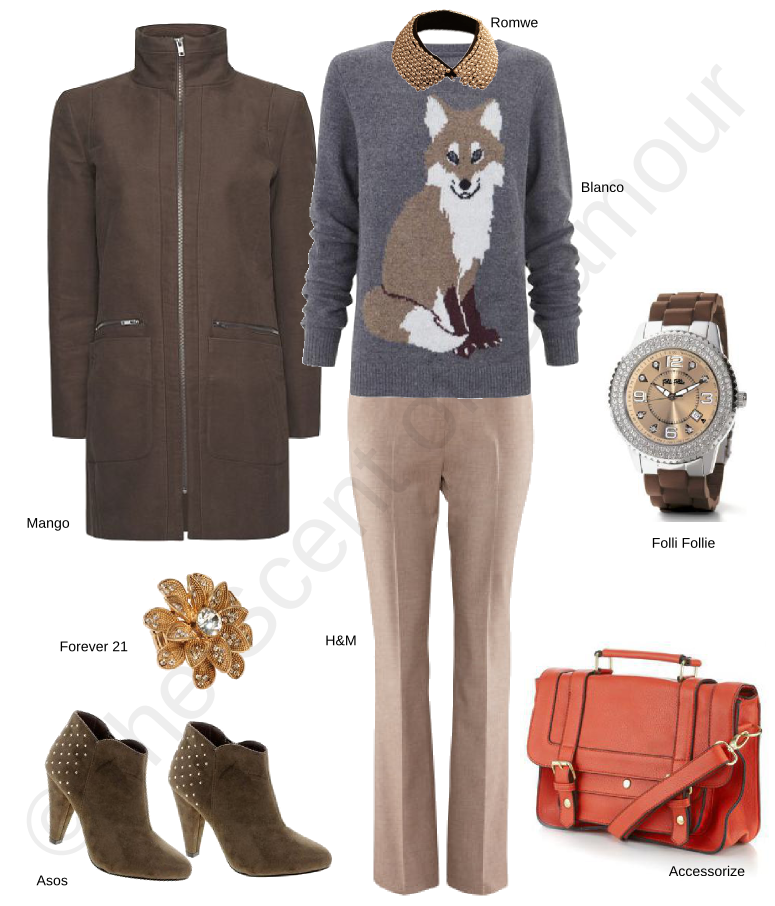 asos ankle boots, forever 21 flower ring, accessorize bag, h&m trousers, mango brown coat, folli follie watch, blanco jumper, romwe collar