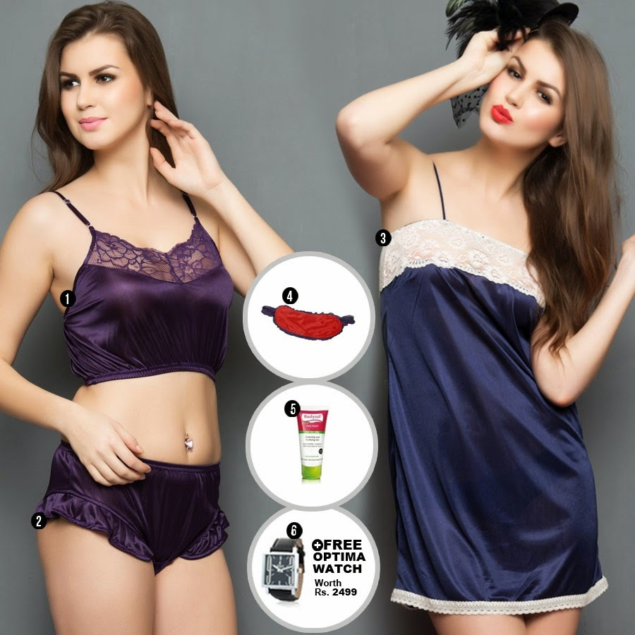 Buy 6 pcs set : Crop Cami, Shorts, Nightslip at Flat 75% off + Free Eyemask , Facewash and Watch Rs. 999 only at Moodsofcloe.