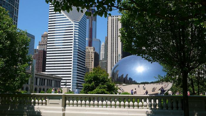 "Cloud Gate, a public sculpture is the centerpiece of the AT&T Plaza in Millennium Park within the Loop community area of Chicago, Illinois, United States. The sculpture is nicknamed ""The Bean"" because of its bean-like shape. Made up of 168 stainless steel plates welded together, its highly polished exterior has no visible seams."