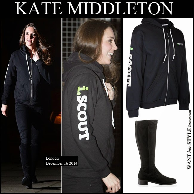Pregnant Kate Middleton in black zip iscout hoodie, black jeans and black suede boots russell bromley charge it want her style december 16 maternity fashion