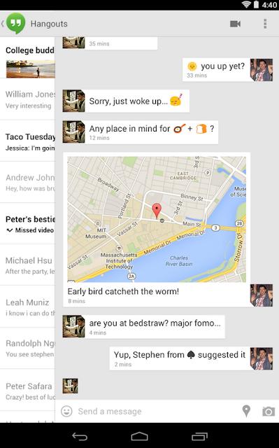 Google Hangouts android aplikacija