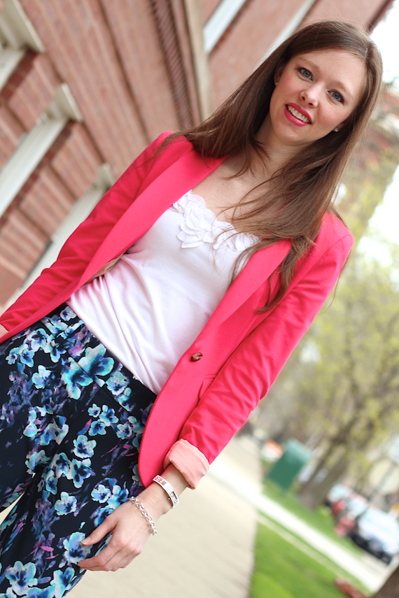 Pink Blazer, White Tank, Floral Pants | StyleSidebar