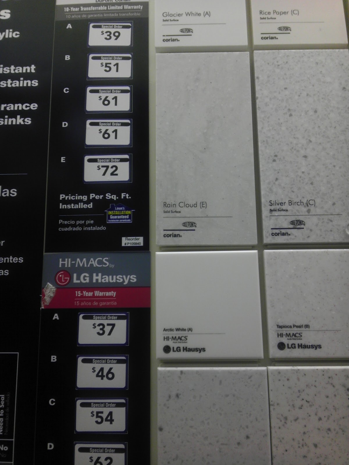 awesome corian pricing per square foot #2: I need to see how the counters compare against Corian, but Iu0027m liking the  pricing, two dollars less per square foot can add up.