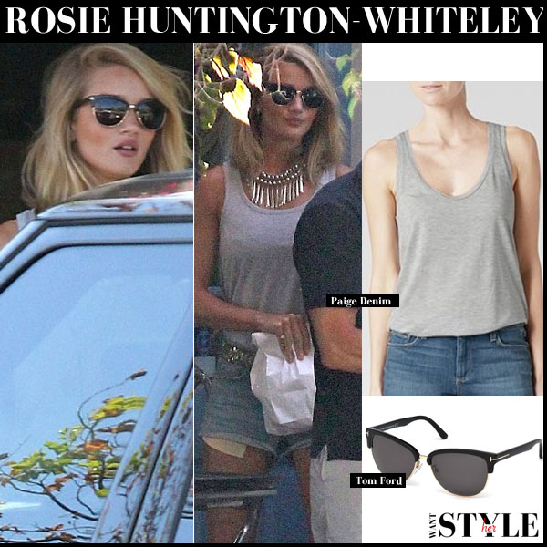 Rosie Huntington-Whiteley in grey paige denim tank top and denim shorts and tom ford sunglasses streetstyle