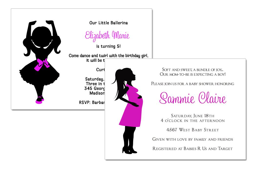 Belle Announces: Silhouette Ballerina & Baby Shower Invitations