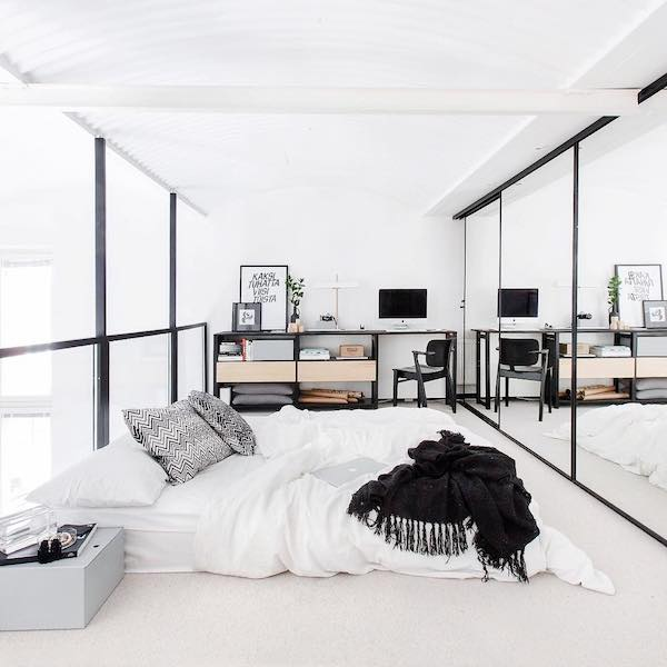 Vosgesparis january 2016 for Black and white minimalist bedroom