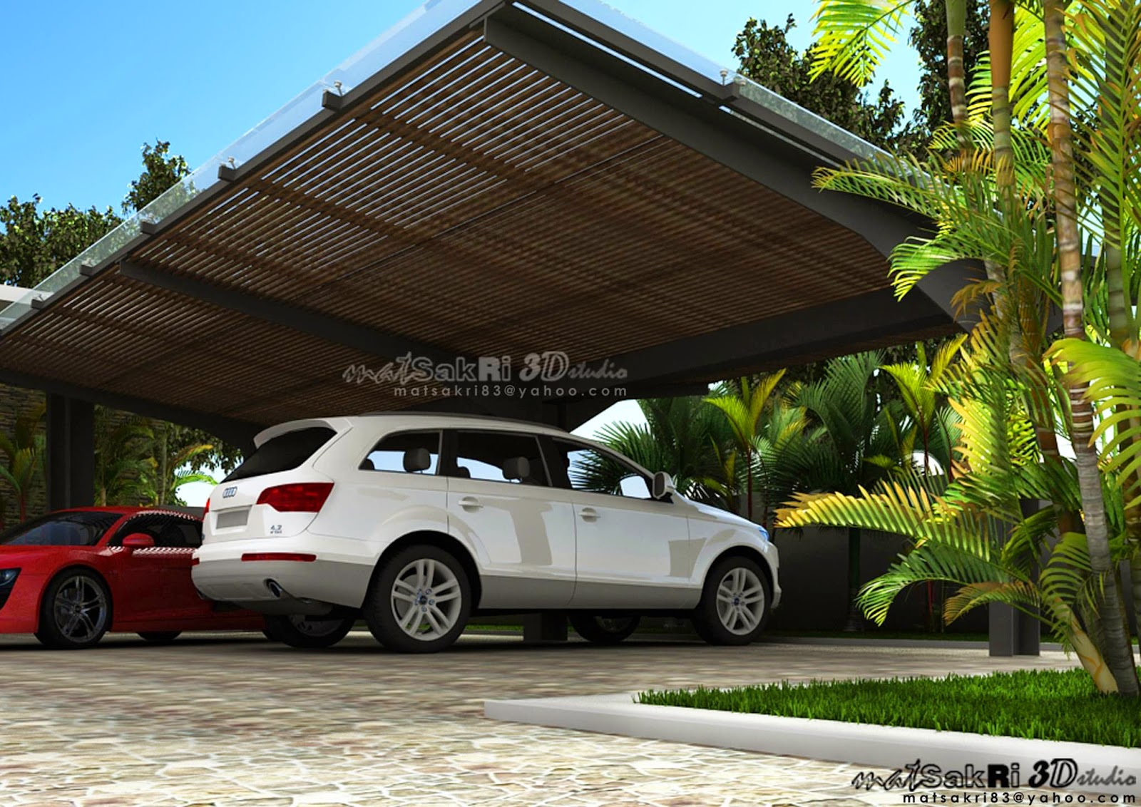 3 dimensi car porch for Car porch designs for houses