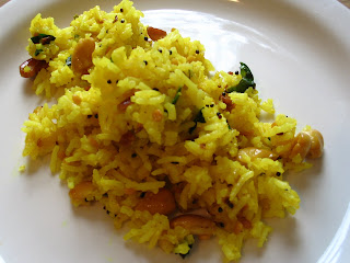 Yellow Lemon Rice with Fried Cashews