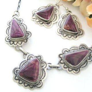 Purple Spiny Oyster Earrings Necklace Set Sterling Silver Jewelry by Native American Samantha Tso