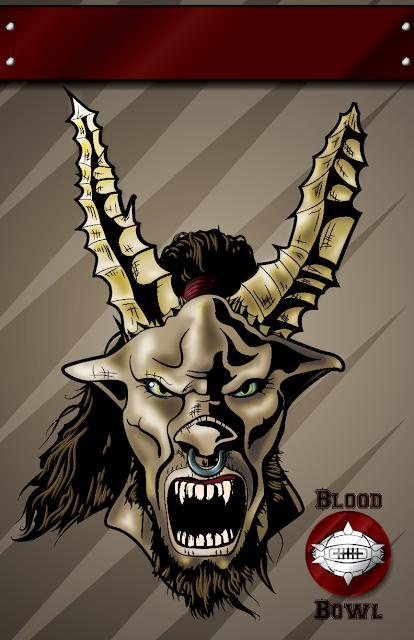 Beastman Blood Bowl Illustration Poster Games Workshop