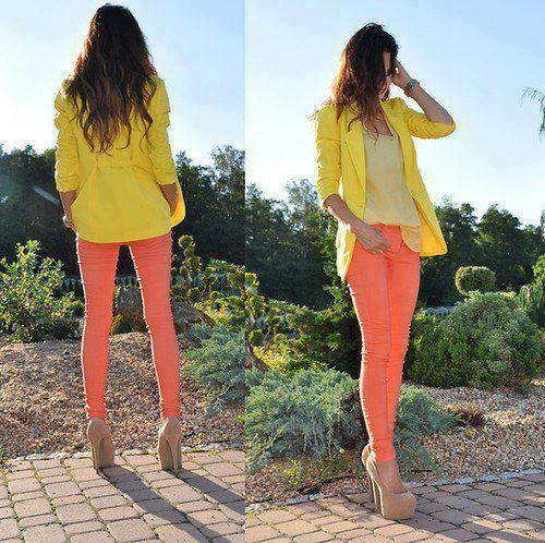 Yellow jacket and pink pants for ladies summers style