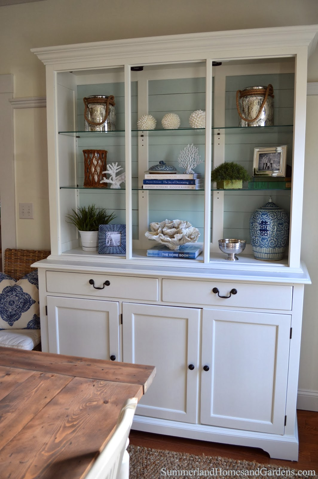 Summerland homes gardens one room challenge source list for Baskets on top of kitchen cabinets