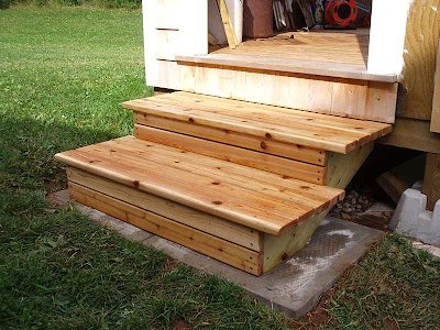 Here are the stairs again the next morning after being treated with the water sealer. We used Thompson's brand and it did a great job on the cedar.