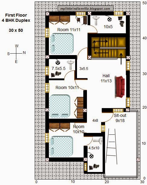 My little indian villa for 30x40 duplex house floor plans