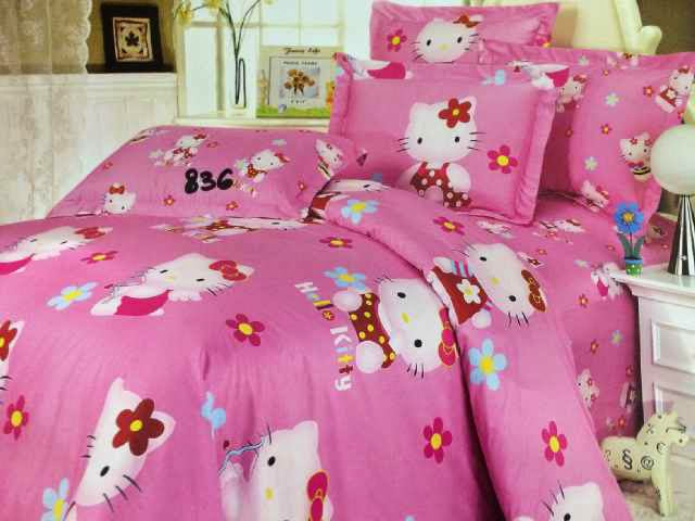 Sprei Jepang Anak Motif Hello Kitty Pink