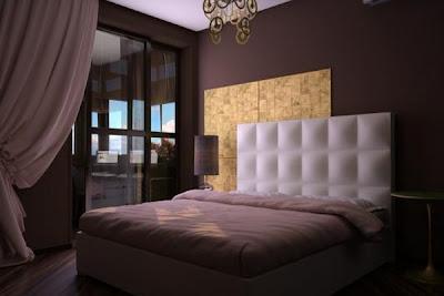 Dormitorio matrimonial elegante con colores marrones en la pared ...