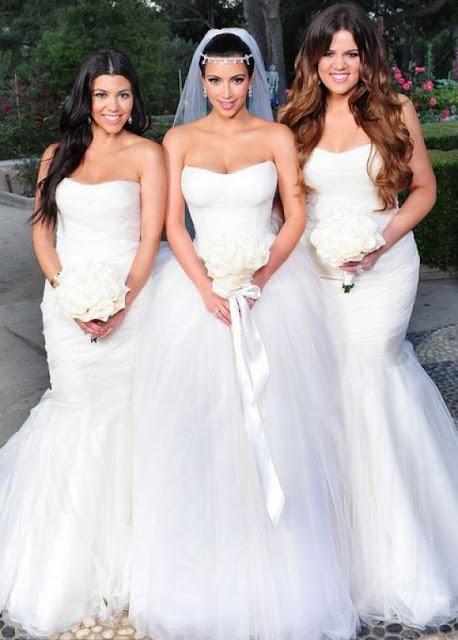 Khloe, Kourtney e Kim no casamento de Kim Kardashian