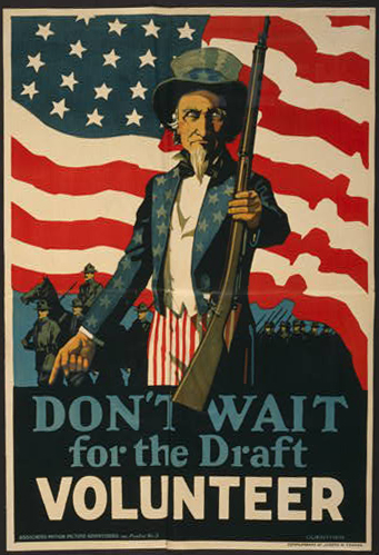 classic posters, free download, graphic design, military, propaganda, retro prints, united states, vintage, vintage posters, war, Don't Wait for the Draft, Volunteer - Vintage War Military Poster
