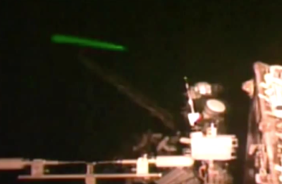 Green Cylinder UFO At Space Station 2015, UFO Sighting News
