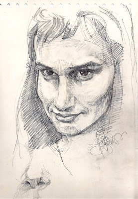 sketching from life, female face