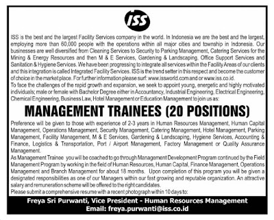 Lowongan Management Trainees di ISS Facility Services Jakarta