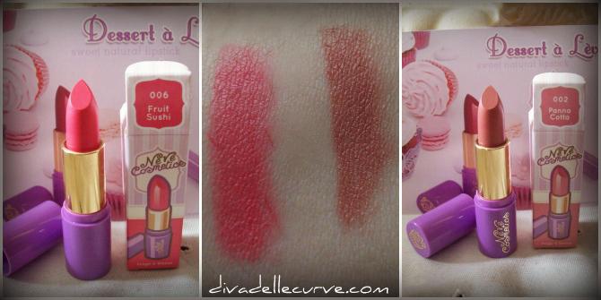 rossetti neve cosmetics fruit sushi e panna cotta con swatch
