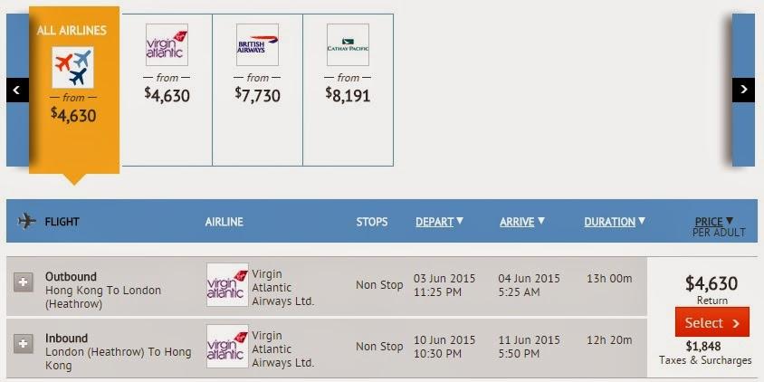 維珍航空香港往來英國$4,630起: 倫敦 (連稅HK$6,478)