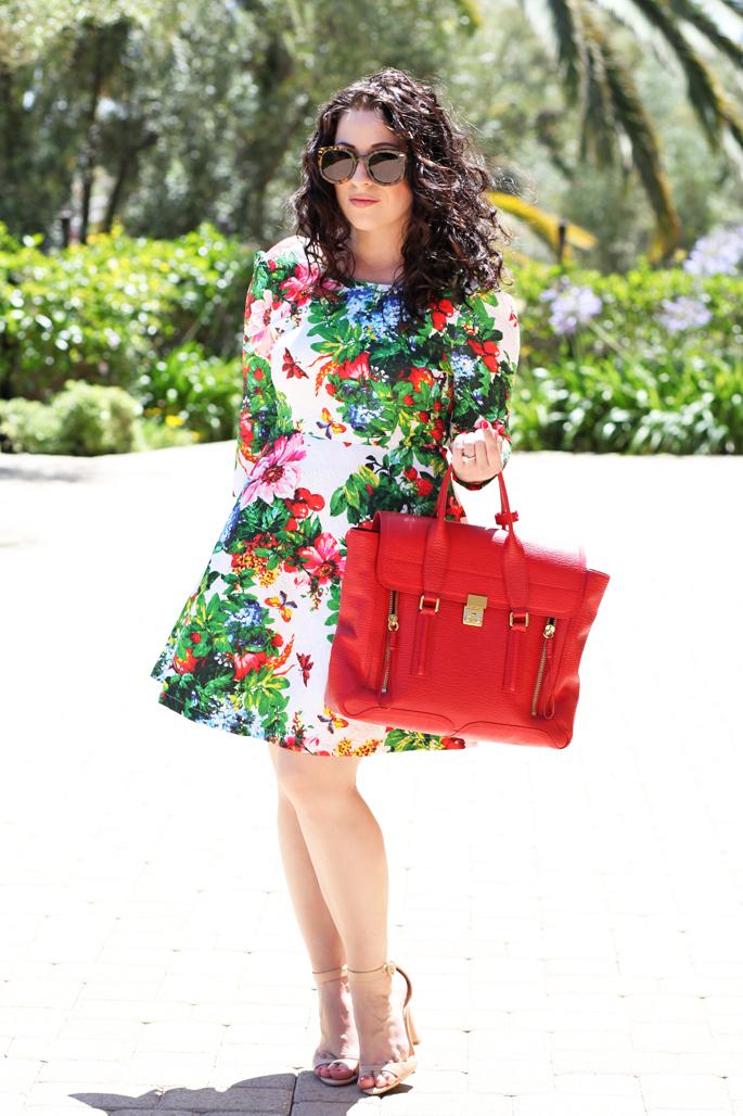 curly-brunette-hair-karen-walker-sunglasses-tropical-floral-dress-red-phillip-lim-pashli-satchel-king-and-kind-blog-nude-zara-sandals