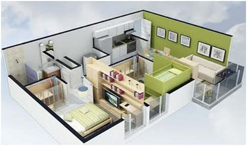 3D home plans for free. Small house and apartment plans.