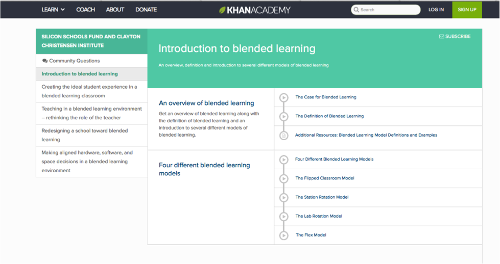 Khan Academy Blended course