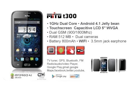 Mito T300, Spesifikasi, Hp Android, Jelly Bean Dual-core,Dual Sim,Layar 5 Inci ,TV Analog.