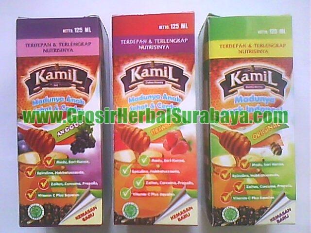 madu yang di formulasikan dengan 7 macam jenis Herbal : madu, sari kurma, propolis, pegagan, zaitun, curcuma, habbatussauda.