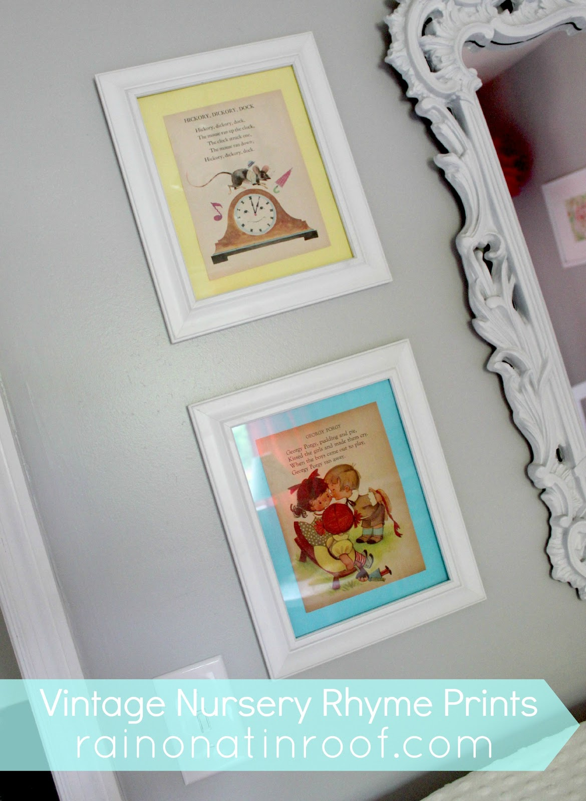 diy vintage nursery rhyme prints simple cheap. Black Bedroom Furniture Sets. Home Design Ideas
