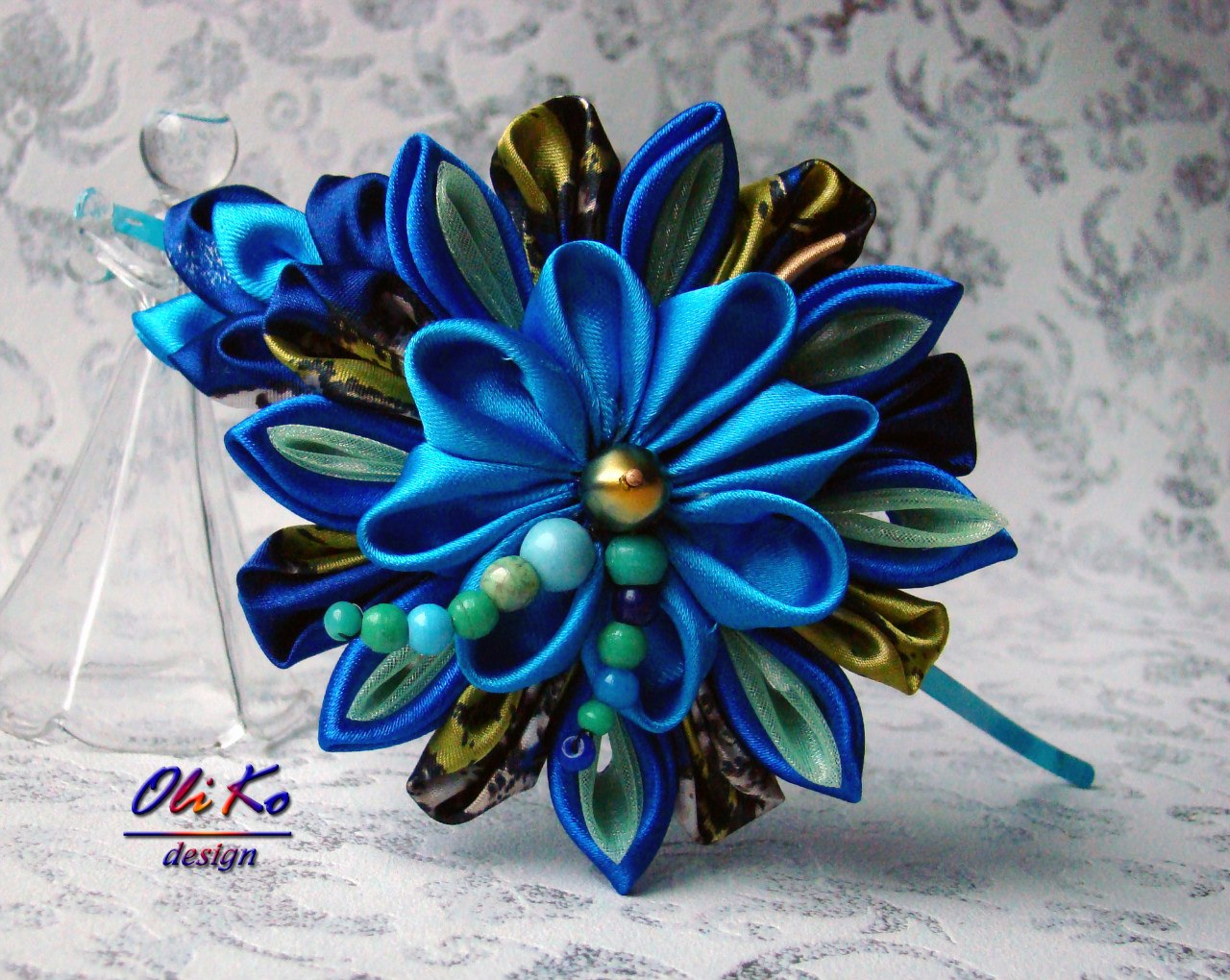 Японские цветы из ткани мастер класс + видео #5