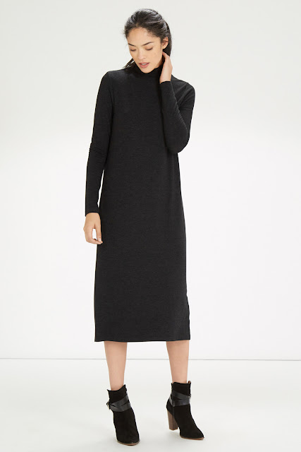 turtle neck midi dress, warehouse knit midi dress,
