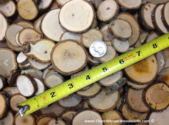 "100 qty 1"" to just under 2 inch Tiny Eclectic Wood Slices Mix small sizes, crafts, buttons"