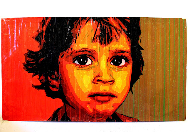 tape art tapeart portrait big eyes boy