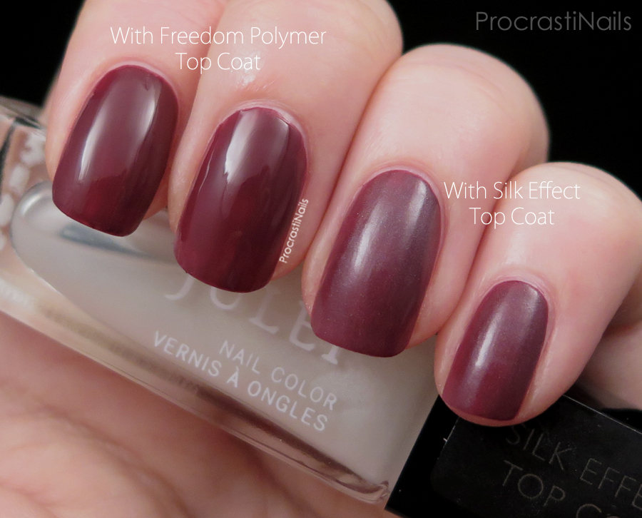 Swatch comparing the Julep Silk Effect Top Coat to the Freedom Polymer Top Coat
