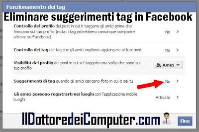 eliminare tag automatici facebook