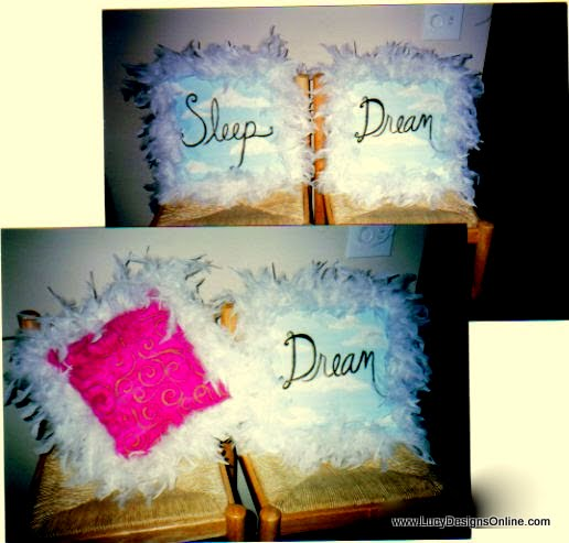 hand painted pillows with feather boa trim