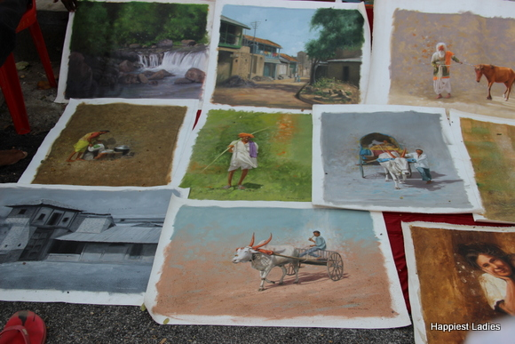 village life oil paintings
