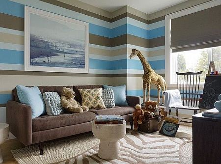 Blue And Brown Living Room Decorating Ideas With Stripped Wall Decoration