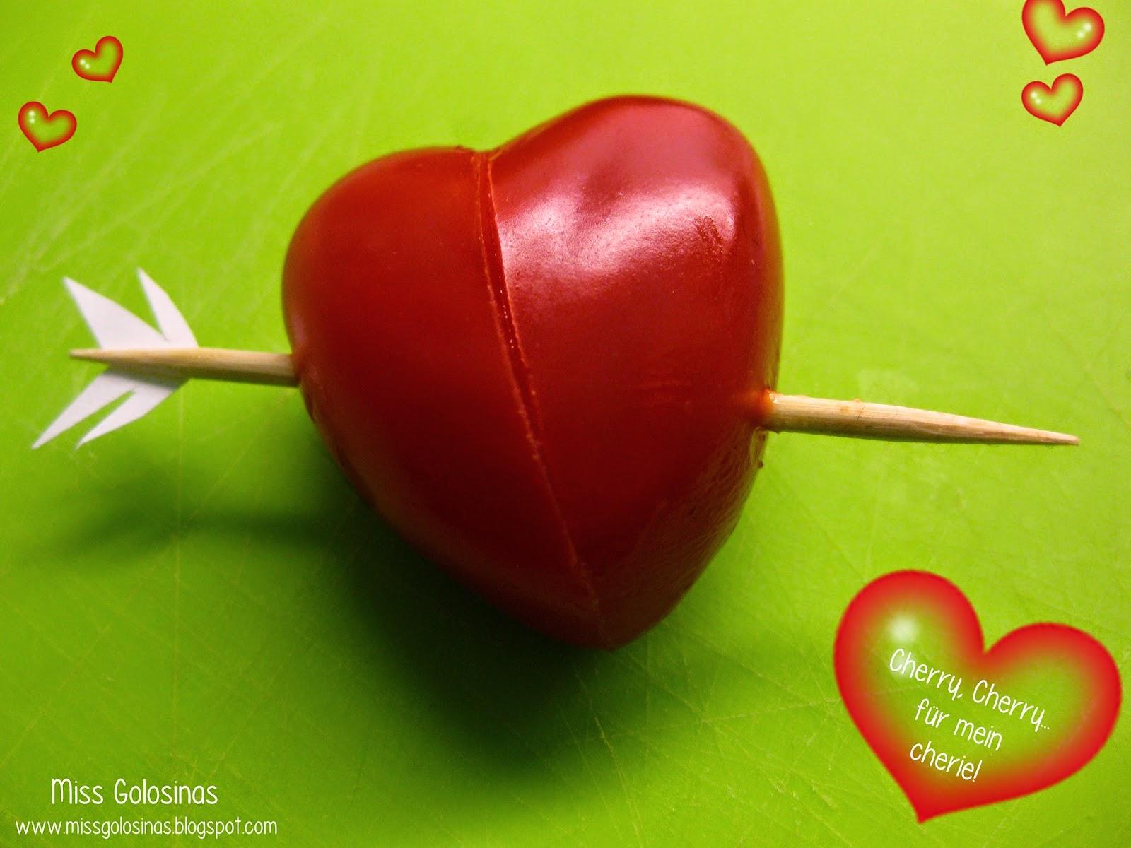 Herzchen aus Cocktailtomaten, Tomatoe-Hearts