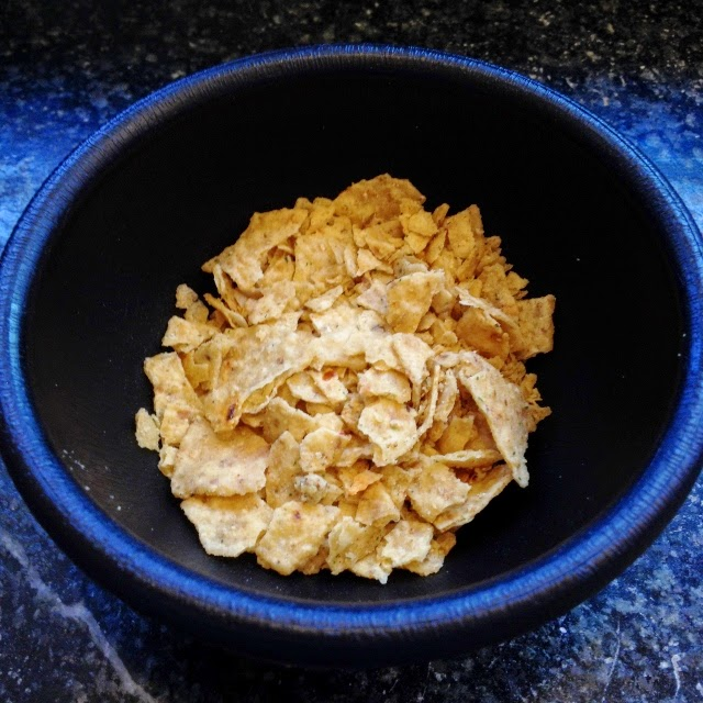 Tortilla chips crushed (about 3)