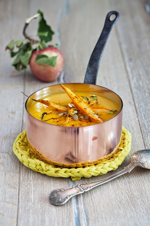 gingery pumpkin-apple soup with roasted carrots (dairy-free, vegan)