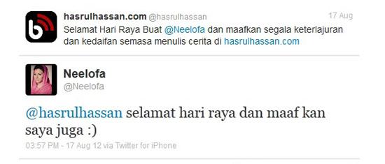 Tweet Neelofa Buat hasrulhassan.com