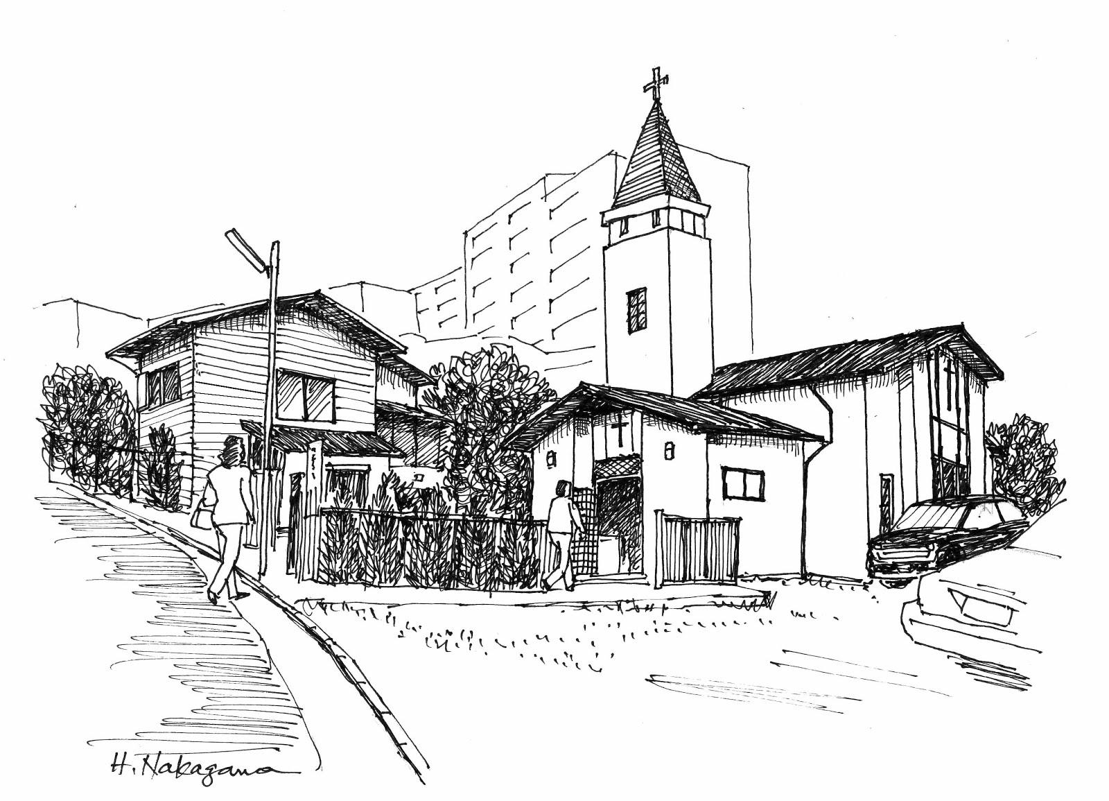 教会のある風景