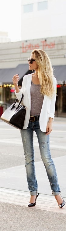 White jacket gray blouse with jeans pant