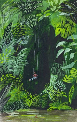 illustration of a girl swinging in the woods by Kirsten Sims